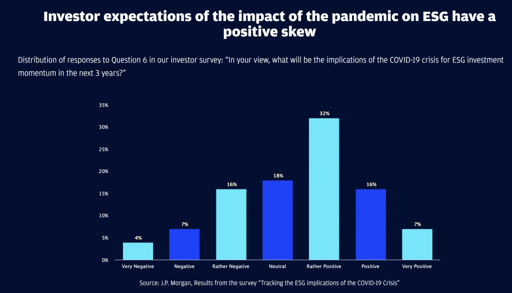 investor expectation of the impact of the pandemic on ESG have a positive screw