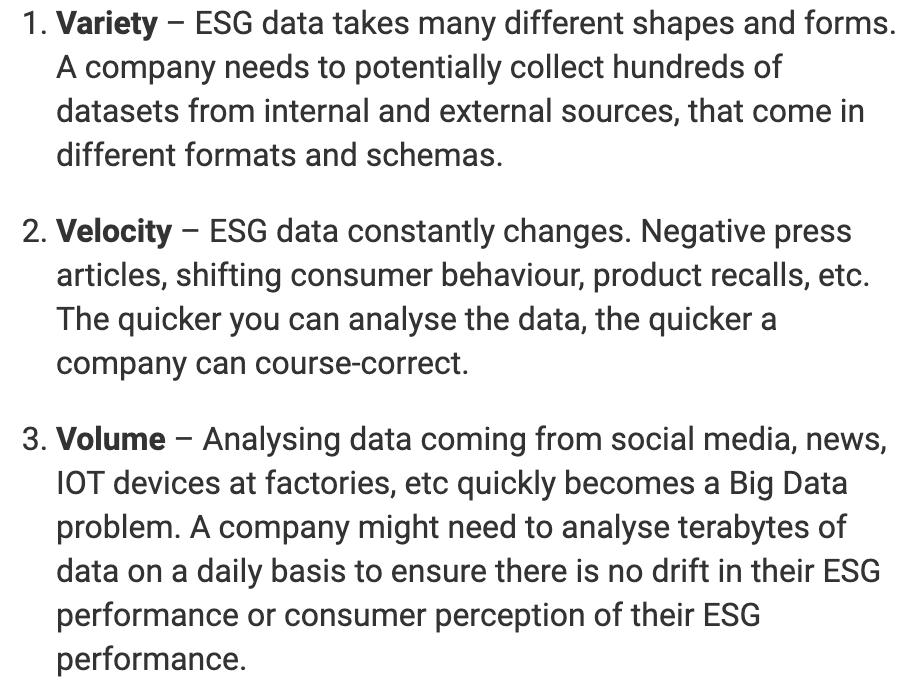 Variety, velocity, volume in ESG for AI